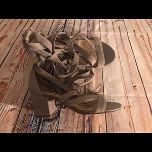 Sam Edelman Lace Up 6 1/2 Heels Suede Brown Ankle